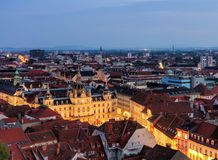 Graz townhall night Royalty Free Stock Image