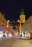 Graz vid natt, Österrike fotografering för bildbyråer