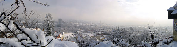 Graz winter panorama. Clock tower on right Stock Images