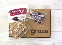 Graze Box. SWINDON, UK - FEBURARY 14, 2017: New 2017 Snackspiration Graze Box, by graze.com, snacking , reinvented healthy snacks delivered to your door or work Stock Photos