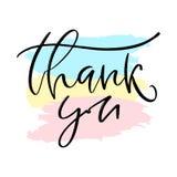 Grazie carta scritta a mano Modello stampabile di calligrafia Illustrazione calligrafica di vettore Icona di ringraziamenti royalty illustrazione gratis