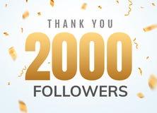 Grazie che 2000 seguaci progettano l'anniversario sociale di network number del modello Numero dorato degli utenti sociali royalty illustrazione gratis