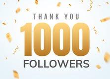 Grazie che 1000 seguaci progettano l'anniversario sociale di network number del modello Numero dorato degli utenti sociali illustrazione di stock