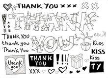 Grazie doodle illustrazione di stock