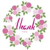 Grazie esprimere con la struttura rosa del fiore Illustrazione Vettoriale
