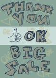 Grazie grande illustrazione di approvazione di vendita Fotografia Stock