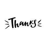Grazie: illustrazione isolata vettore Calligrafia della spazzola, iscrizione della mano Manifesto ispiratore di tipografia Fotografia Stock