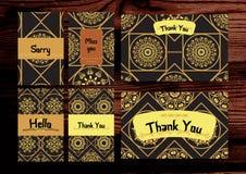 Grazie, manchivi, insieme di carte spiacente Isolato sul backg di legno Fotografie Stock