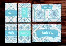 Grazie, manchivi, insieme di carte spiacente sul backg di legno Fotografia Stock