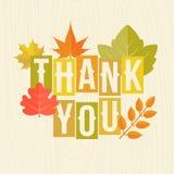 Grazie mettere in evidenza con il manifesto delle foglie di autunno Fotografia Stock Libera da Diritti