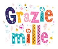 Grazie mille thank you very much in Italian lettering design Stock Photos