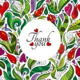 Grazie progettazione di carta, fiori svegli disegnati a mano Struttura floreale decorata colorata di scarabocchio Fotografie Stock