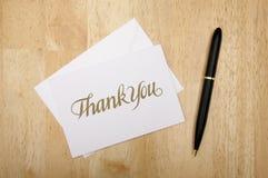 Grazie scheda e penna di nota Fotografia Stock