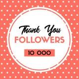 Grazie 10000 seguaci Carta di ringraziamenti di vettore per i media sociali illustrazione di stock