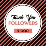 Grazie 5000 seguaci Carta di ringraziamenti di vettore per i media sociali illustrazione di stock