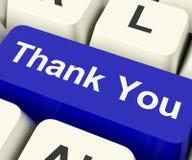 Grazie tasto del computer come messaggio online di ringraziamenti Immagini Stock Libere da Diritti