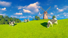 Grazing dairy cows and windmill. Springtime rural landscape with grazing mottled dairy cows and windmill in the distance. Realistic 3D illustration was done from Stock Photo