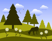 Grazing goat and daisies. Illustrated landscape with grazing goat on flowery meadow Stock Photography