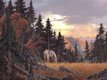 Grazing Horse. Image from an original painting by Larry Jacobsen. / AF-014 royalty free illustration
