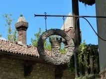 Grazzano Visconti, odbudowa średniowieczna wioska, bezpłatny wejście w prowincji Piacenza, Włochy fotografia stock