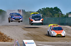 Grc 034. Louisville, Kentucky – May 20, 2017:  Colin Braun, Gustavo Yacaman, and Cyril Raymond go over a jump at the Red Bull Global Rallycross in Louisville Stock Photo