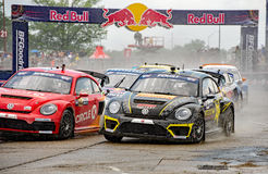 Grc 260. Louisville, Kentucky – May 21, 2017:  Scott Speed and Tanner Foust fight for position in the rain at the Red Bull GRC supercar finals in Louisville Royalty Free Stock Photo