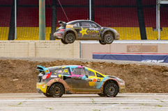 Grc 252. Louisville, Kentucky – May 21, 2017:  Tanner Foust takes the jump while Austin Dyne takes the Joker at the Red Bull GRC in Louisville, Kentucky, on Stock Photo