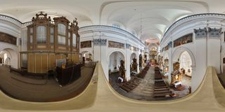 GRDONO, BELARUS - MARCH 12, 2012: Panorama interior of basilica near the organ with view of the altar. Full spherical 360 by 180 stock photos