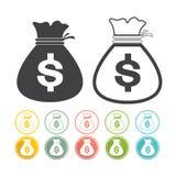 Gre ajustado do rosa do amarelo do preto do vetor da moeda do dólar do ícone do sinal do saco do dinheiro Fotos de Stock