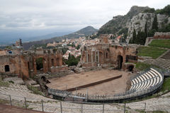 Greak Theater. The old Greek and then Roman theater in Messina, Italy Stock Images