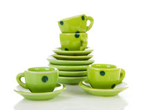 Grean dotted tablewear Stock Photo