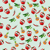 Grean peas pod. Very high quality original trendy vector seamless pattern with green peas pods and onion Royalty Free Stock Images