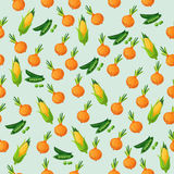 Grean peas pod. Very high quality original trendy vector seamless pattern with green peas pods and onion, corn Stock Photo