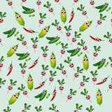 Grean peas pod. Very high quality original trendy vector seamless pattern with green peas pods and other vegetables Stock Photo