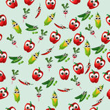Grean peas pod. Very high quality original trendy vector seamless pattern with green peas pods and other vegetables Royalty Free Stock Photography
