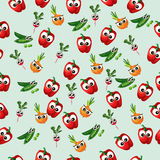 Grean peas pod. Very high quality original trendy vector seamless pattern with green peas pods and other vegetables Royalty Free Stock Photo