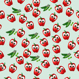 Grean peas pod. Very high quality original trendy vector seamless pattern with green peas pods and red pepper Royalty Free Stock Photos