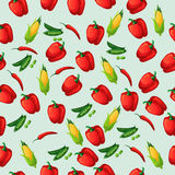 Grean peas pod. Very high quality original trendy vector seamless pattern with green peas pods and red pepper, corn Royalty Free Stock Image