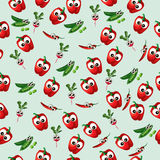 Grean peas pod. Very high quality original trendy vector seamless pattern with green peas pods and red pepper, radish Stock Photo