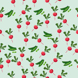 Grean peas pod. Very high quality original trendy vector seamless pattern with green peas pods and red radish Royalty Free Stock Image