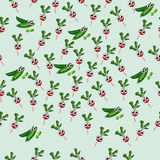 Grean peas pod. Very high quality original trendy vector seamless pattern with green peas pods and red radish Stock Image
