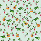 Grean peas pod. Very high quality original trendy vector seamless pattern with green peas pods and red radish, onion Royalty Free Stock Image