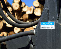 Grease Instructions on Log Loader Stock Photo