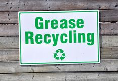 Grease recycling sign Royalty Free Stock Photos