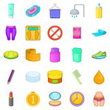 Greasepaint icons set, cartoon style Royalty Free Stock Photos