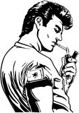 Greaser Lighting Cigarette Royalty Free Stock Image