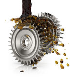 Greasing cogwheels. On white. 3d render Royalty Free Stock Images