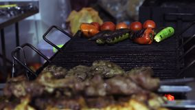 Greasy fried meat on charcoal grill, unhealthy food detrimental to health, BBQ. Stock footage stock video