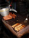 Greasy Grill. Hot dogs and Sausage in greasy grill stock photography
