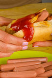 Greasy hot dog Royalty Free Stock Photos